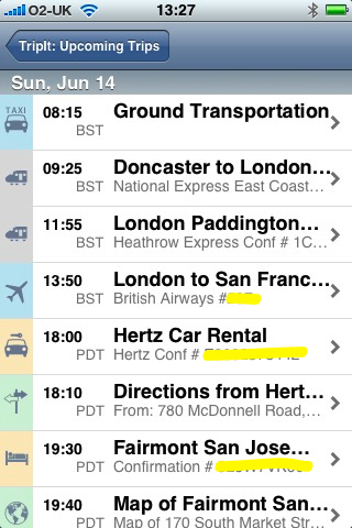 A TripIt itinerary displayed on the iPhone